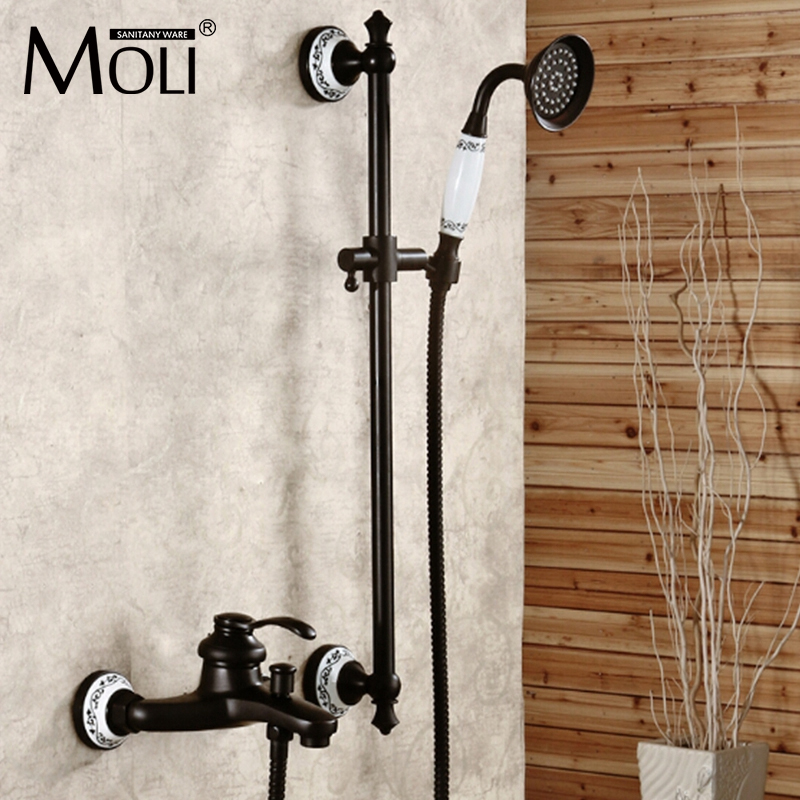Wall mounted oil-rubbed bronze shower faucet black single handle bath and rain shower faucet with hand shower bathroom accessory wall mounted black oil rubbed bronze toothbrush holder with two ceramic cups wba451