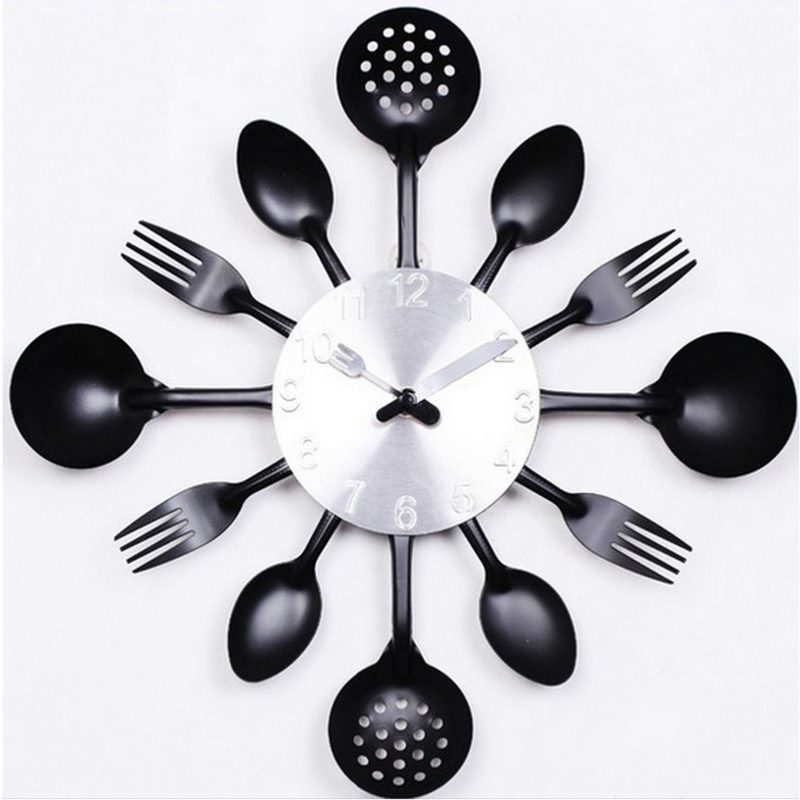 Buy Kitchen Clock Part - 20: 2017 Real Metal Wall Clock Knife Kitchen The Decoration Quartz Mute Modern  Separates Needle Clocks Watch
