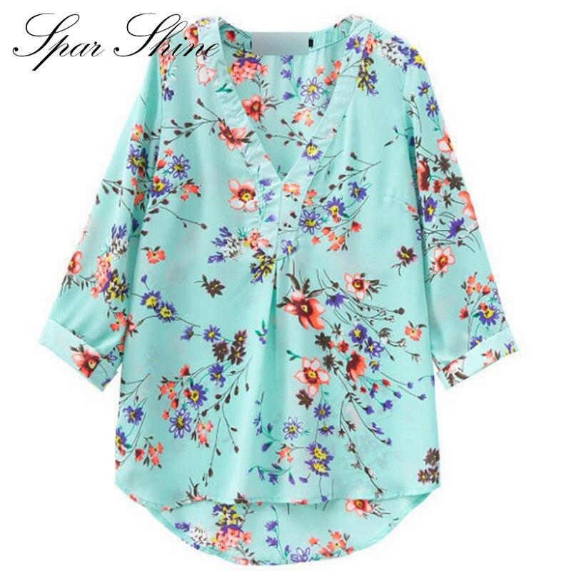 Blusas Y Camisas Mujer 2016 Summer Style Chiffon Blouse Shirts Women Blouses Big Sizes WomenS Shirt Tops Tee