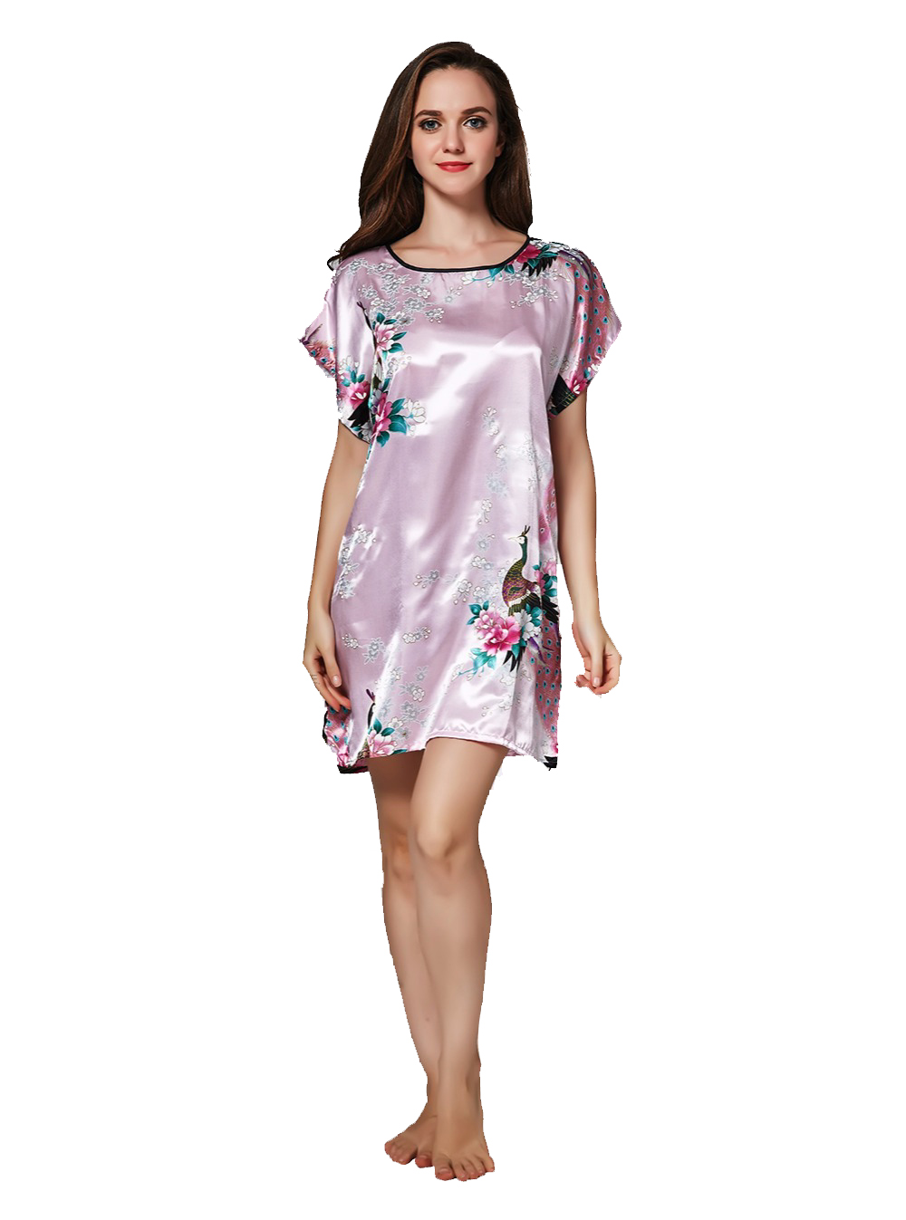 Women Sleepwear Silk gowns Dress Nightgown Peacock Flower Nightdress ... 5d59faa3c