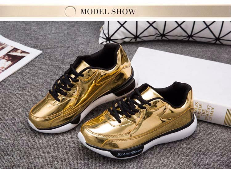 Mirror Surface Women 90 Casual Shoes Fashion Spring Lace Up Platform Womens Shoes Low Top Lace Up Trainers Women Gold Shoes YD52 (6)