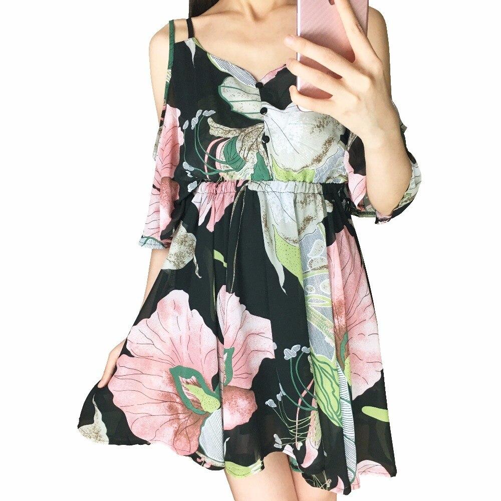 Vestido Del Verano de bohemia Gasa de Las Mujeres Sexy V-cuello la Correa de Esp