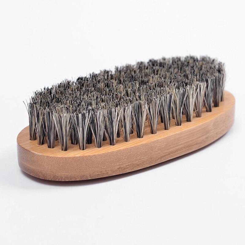 8cm Men Boar Hair Bristle Beard Brush Shaving Comb Face Massage Handmade Yellow Mustache Brush Beauty Care Drop Shipping