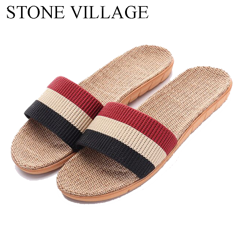 STONE VILLAGE Summer New Linen Slippers  Indoor Floor Shoes slides mixed colors men women slippers summer home slippers vanled 2017 new fashion spring summer autumn 5 colors home plush slippers women indoor floor flat shoes free shipping