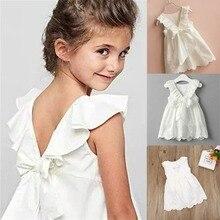 От 1 до 7 лет платье для маленьких девочек летняя одежда для малышей кружевное хлопковое белое платье-пачка принцессы с бантом сзади для маленьких девочек детская одежда