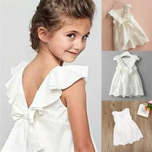 Summer 1-7Y Kid Baby Girls Dress Lace Cotton Back Bow Children Clothes