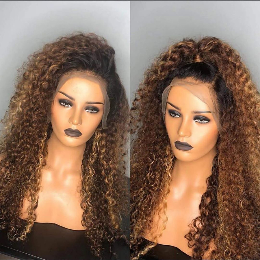 13x6 #1b/30 Curly Lace Front Human Hair Wigs Medium Ratio Deep Part Ombre Honey Blonde Human Hair Wigs Preplucked Brazilian Remy