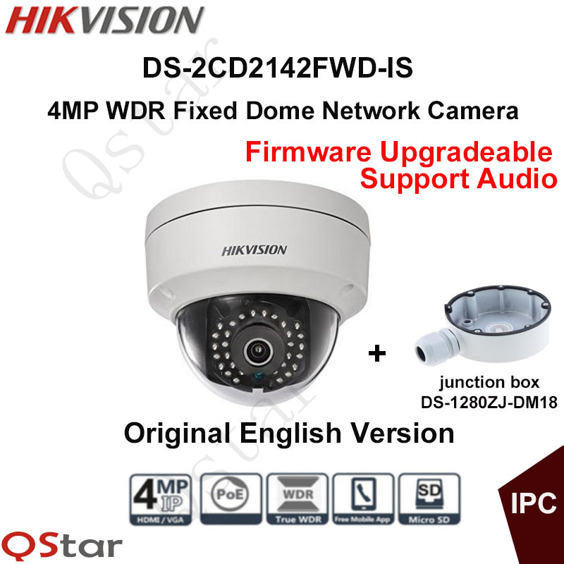 Hikvision Original English CCTV Camera DS-2CD2142FWD-IS 4MP Fixed Dome IP Camera POE Audio IP67+junction box DS-1280ZJ-DM18 hikvision original english cctv camera ds 2cd2142fwd is 4mp fixed dome ip camera poe audio ip67 junction box ds 1280zj dm18