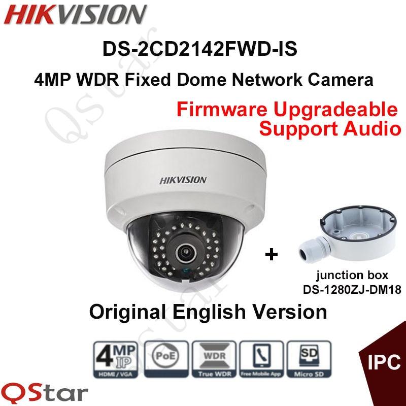 все цены на Hikvision Original English CCTV Camera DS-2CD2142FWD-IS 4MP Fixed Dome IP Camera POE Audio IP67+junction box DS-1280ZJ-DM18 онлайн