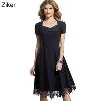 Ziker New 2017 Fashion Summer Women Dresses V Neck Short Sleeve Slim Big Hem Dress Lace