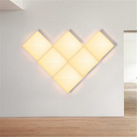DIY Square Acrylic LED Wall Lamp Modern Simple Creative Wall Sconce Bedside Dimmer Wall Light Fixtures Home Indoor Lighting