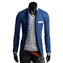 2017 new solid color cotton thin suits for men groom brightly colored mens blazer a buckle leisure dress suit jacket Men