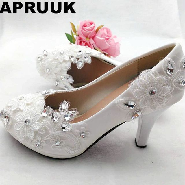 High heels platforms white lace wedding shoes bride handmade plus size low  high heels silver rhinestones bridal shoes in stock 147f03360ae7