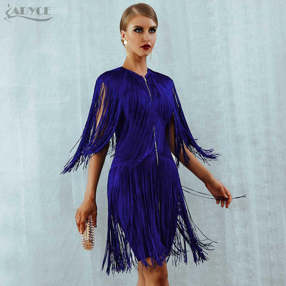 Adyce 2019 новый летний Бандажное платье Для женщин элегантные Клубные вечерние сексуальное платье без рукавов с круглым вырезом комплекты из Ленточки мини бахромой платье на бретелях Vestido