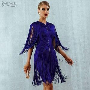 Image 3 - Adyce 2020 חדש קיץ פרינג תחבושת שמלת נשים סקסי O צוואר שרוולים גדילים מיני טנק שמלה אלגנטית מועדון מסיבת שמלה vestido