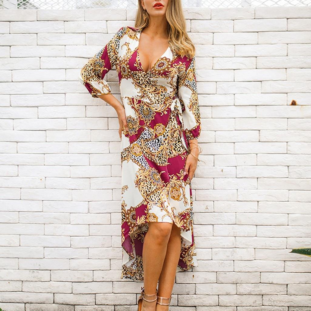 Women Dresses 2018 New Women Fashion V-Neck Leisure Three Quarter Sleeve Printed Loose Dress vestidos femininos