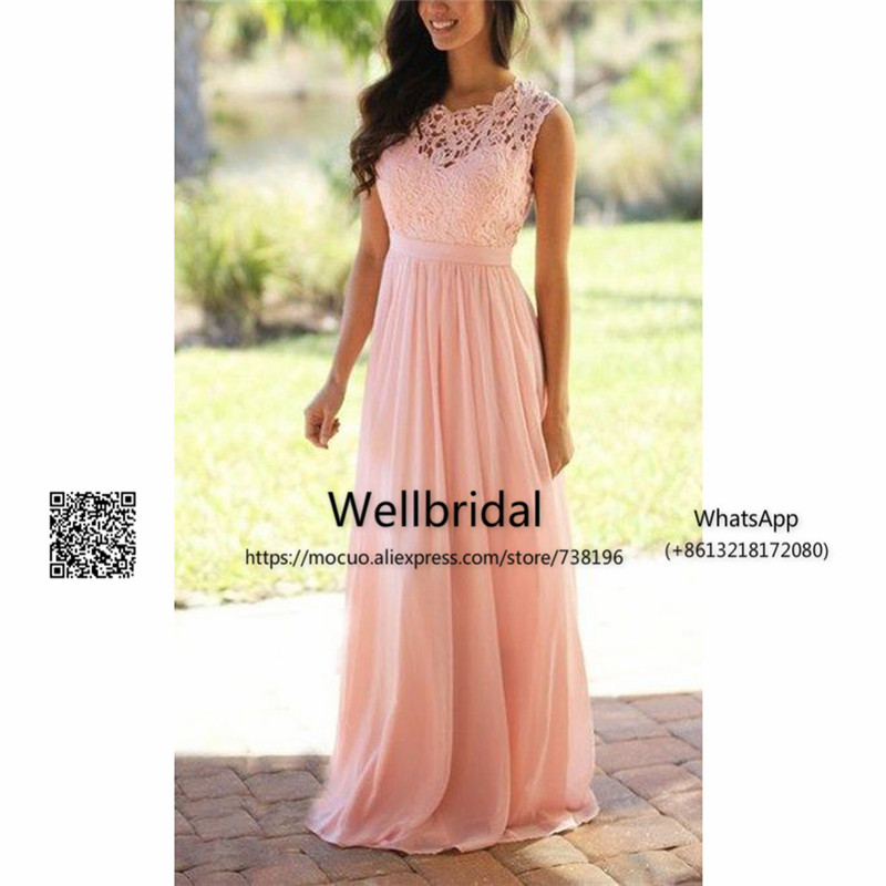 Spring 2017 Lace   Bridesmaid     Dresses   Long Backless Wedding Party   Dress   wedding Guest   dress   Chiffon Formal Long   Bridesmaid     Dress