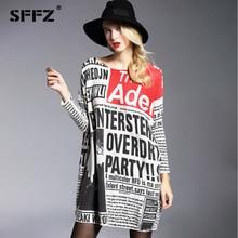 2017 Jaunā rudens ziemas sieviešu kleita lielizmēra trikotāžas garās piedurknes burtu druka vilnas džemperis kleita gadījuma plus lieluma sievietes augšā