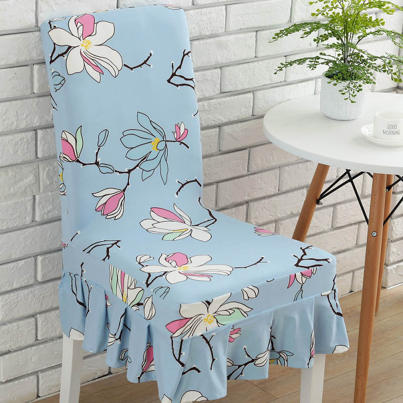 1pc Spandex Polyester Stretch Pretty Floral Dining Chair Covers with Skirt Hotel Banquet ...