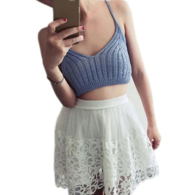 02af6bde6d7ae Women Cropped Knitted Tank Top 2017 Hot Sale Crochet Crop Top Fitness Tank  Top Brandy Melville Sexy Ladies Bustier Vest Camis