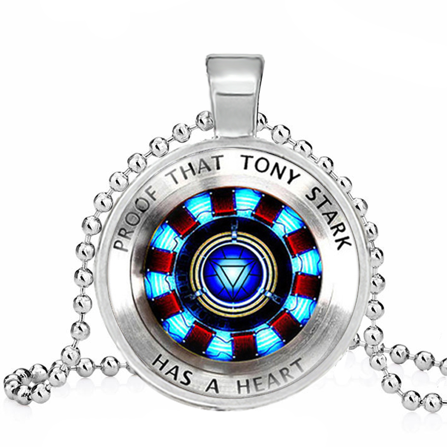 Necklace for Men The Avengers Union Iron Man Captain America Heart Arc Reactor Round Glass Cabochon Necklace Men Jewelry
