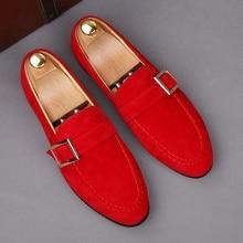 LOUBUTEN/обувь на ремешке с пряжкой; мужские замшевые лоферы; популярная модная обувь без шнуровки для вождения; повседневная кожаная обувь; мужские вечерние туфли