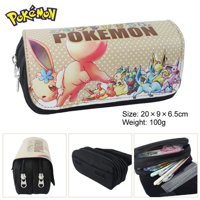Pocket Monster eevee IBE multifunción de doble cremallera bolsa cartera monedero bolsa papelería mayor