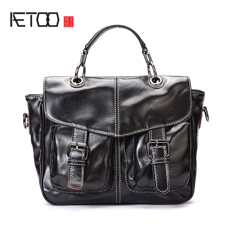 AETOO First layer of leather Korean version of the tide ladies oil wax leather handbag ladies shoulder Messenger bag aetoo first layer of leather shoulder bag female bag korean version of the school wind simple wild casual elephant pattern durab