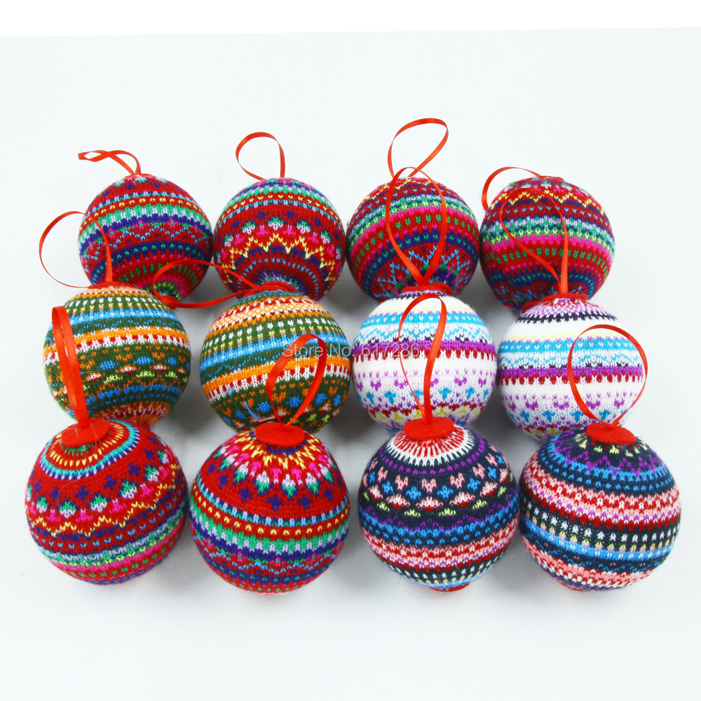 Us 30 0 40 Off 12pcs Lot Lovely Big Christmas Tree Ornaments Knitted Christmas Balls 7 7cm With 4 Color In Pendant Drop Ornaments From Home
