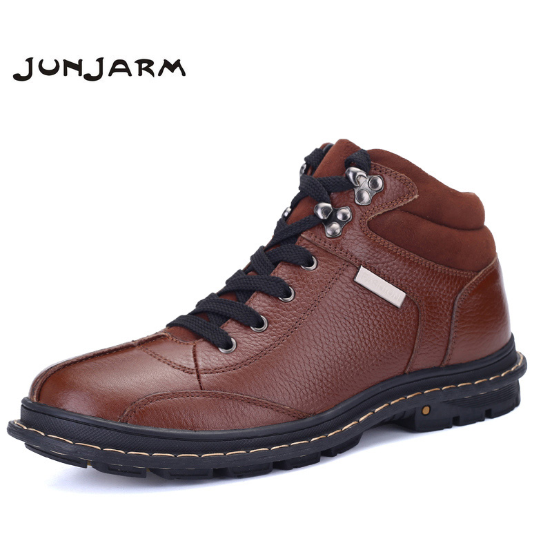 купить JUNJARM 2018 Hot Sale New Men Winter Shoes 100% Genuine Leather Men Boots Shoes Warm Winter Male Boots Ankle Booties Big Size 47
