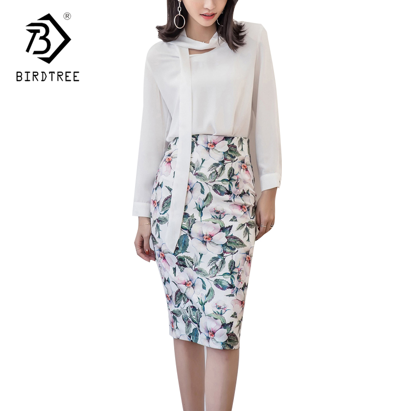 Plus Size 5XL 2018 Spring New Office Skirt High Waisted Knee-Length Pencil Floral Straight Retro Printing Women Skirt B81806L