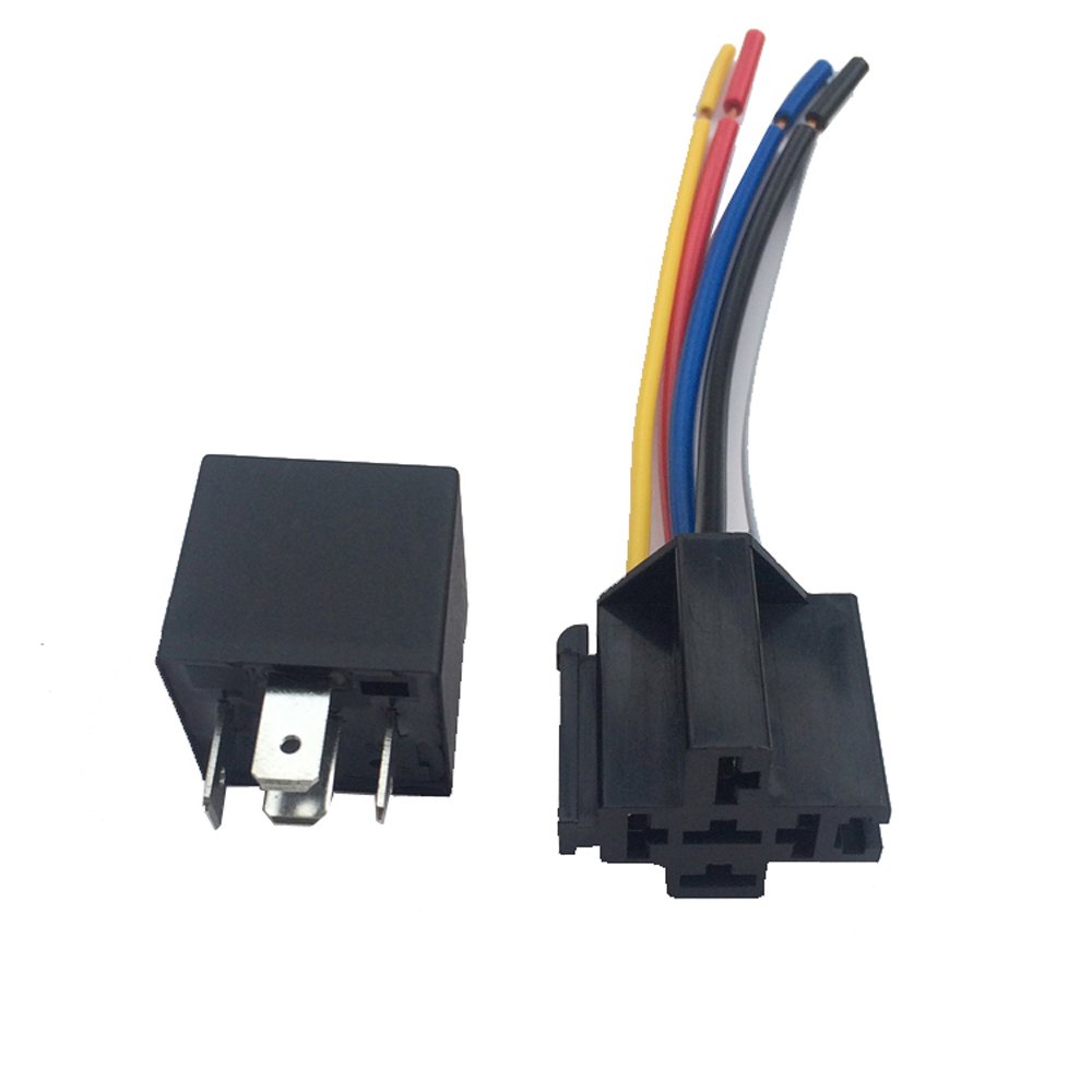 12V 40A 5 Pin SPDT automotive relay Car Truck Auto Automobile Relay with 5 Pin Socket 5 Wire for GPS Lamplight Fan Air Condition