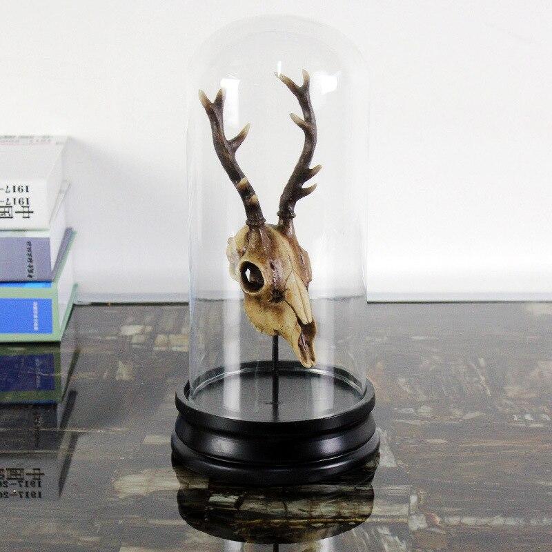 Animal Skull Decoration Living Room Bar Display Resin Glass Cover Deer Skull Figurine Resin Crafts Home Decoration Gift
