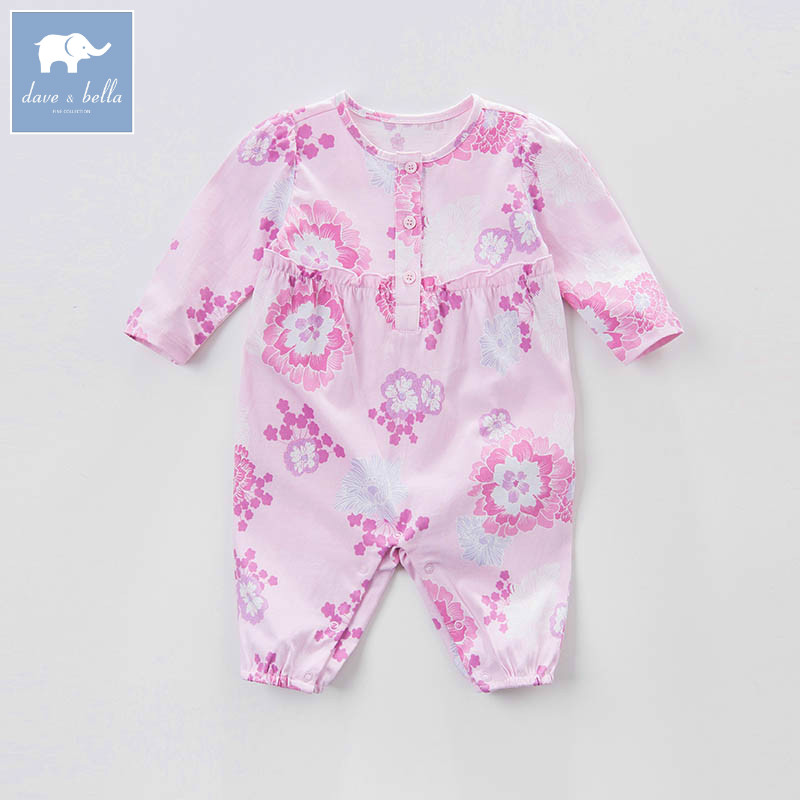 DBA6675 dave bella spring new born baby cotton romper infant clothes girls purple cute floral romper baby 1 piece pudcoco newborn infant baby girls clothes short sleeve floral romper headband summer cute cotton one piece clothes