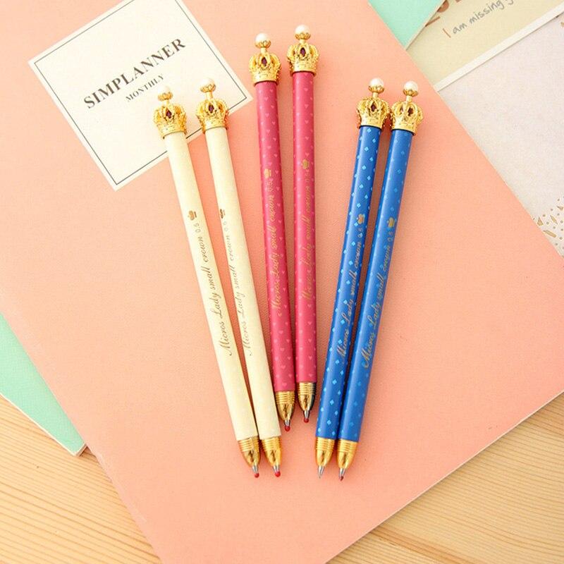Ballpoint Pens Peerless 0.4mm Blue Ink Ballpoint Pen Cute Crown Gel Pens Dot Pen For Kids Students Writing Office School Supplies