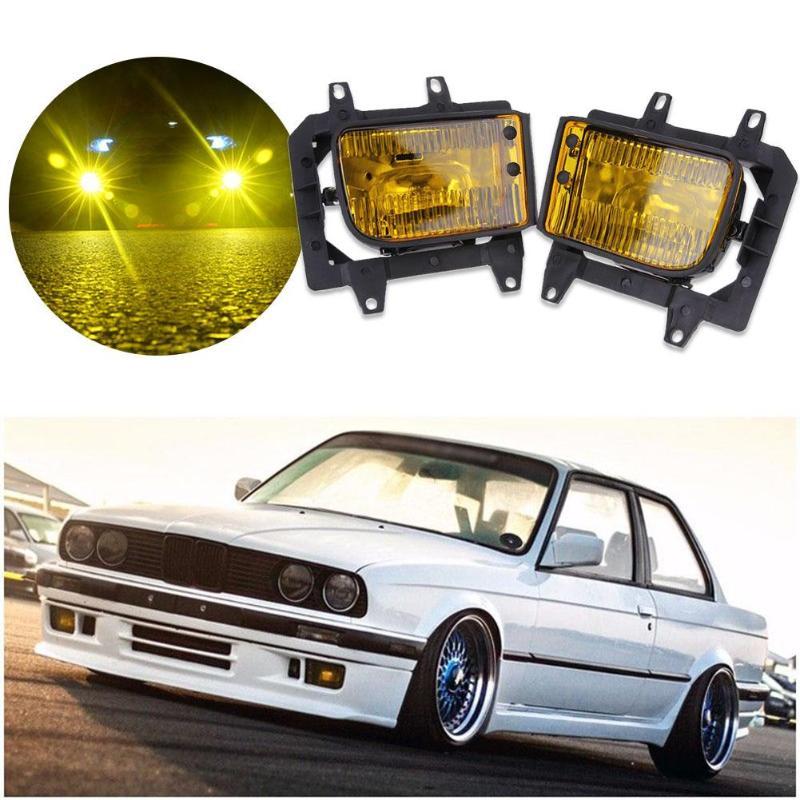 1 paire ABS plastique voiture avant pare-chocs jaune brouillard lumière lampes maison Set LED lumières pour BMW E30 3-série 1982-1994 voiture accessoires