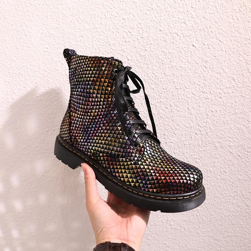 여성 정품 가죽 발목 부츠 22 25 cm 피트 길이 양피 다채로운 패션 유럽과 미국의 마틴 부츠-에서앵클 부츠부터 신발 의  그룹 1