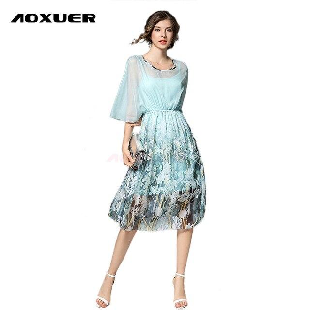 67b4914d8 Aoxuer verano nueva señora elegante dos piezas Flor de seda impresión Vestido  Mujer moda casual chidresses