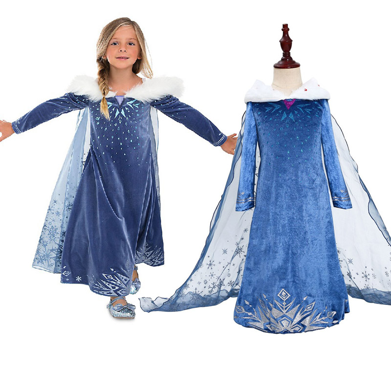 Girls Winter Elsa Princess Costumes with Long Cape for Kids Halloween Stage Magic Fairy Party Dress Cosplay
