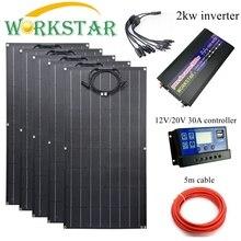 Workstar ETFE 100 Вт Гибкая солнечная панель 5 шт. ETFE солнечная панель 12 в солнечное зарядное устройство 500 Вт Солнечная система с 2 кВт инвертором