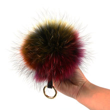 Colorful Raccoon Fur Ball Keychain Genuine Fur Pompoms Pendant Raccoon Fur Poms Keychains Ring Fluffy Fur