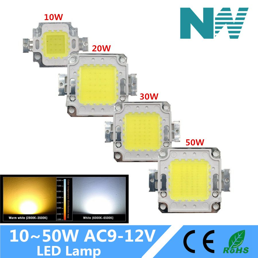 Full Watt 10W 20W 30W 50W High Quality Integrated Chip Epistar Lamp Taiwan Led For Diy Floodlight Spotlight
