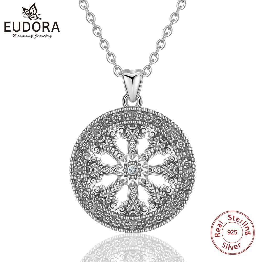 EUDORA 925 Sterling Silver Karma Wheel Pave Round Pendant Necklace For Men Women Oxidized Silver Fine Jewelry CYD378