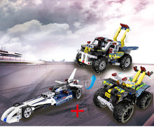 Technics Bullet Piek Racing Mountain Motorfiets Atv 2in1 Off-Road Pickup Kraanwagen Blok Racer Cijfers Pull Back Voertuig speelgoed(China)