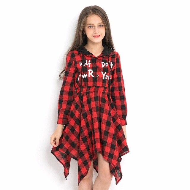Teenage girls sweater dress spring autumn kids dresses hooded plaid print children dress long sleeve for 6 8 10 12 14 years