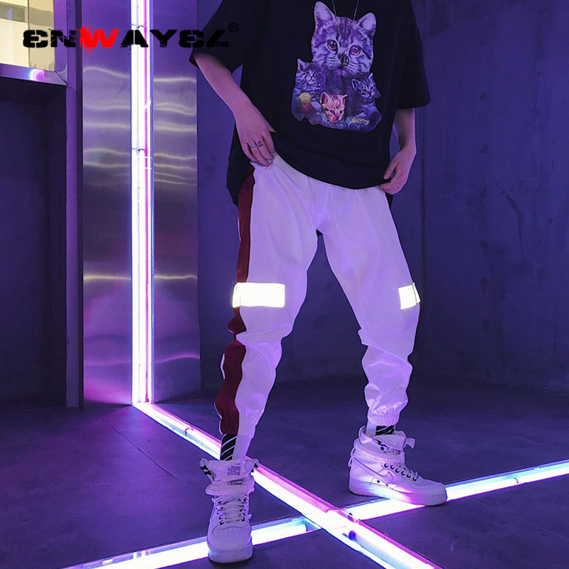 ENWAYEL Reflective-Pants Streetwear Hip-Hop Casual Fashion Brand for Men Skateboard Harem
