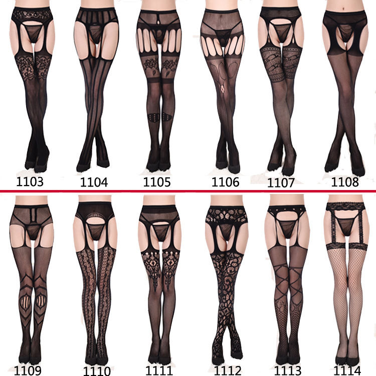 Sexy Pantyhose Women Feminin Black Fishnet Tights Lady Thigh High Stocking Jacquard Sheer Hosiery Stockings Autumn