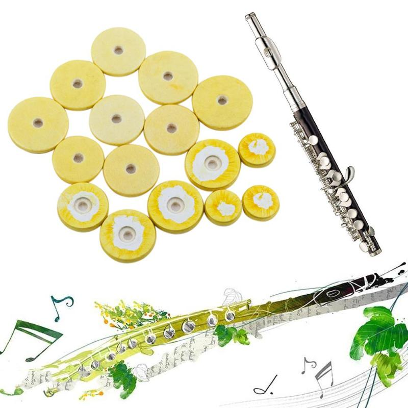 16pcs/Set Flute Clarinet Key Pads Musical Music Replacement Faux Leather Cushion Wind Instrument Accessory Flute Pads Wholesale