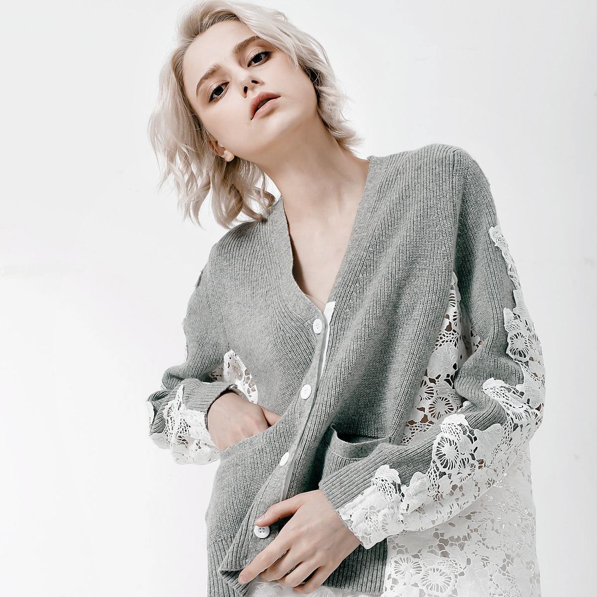 2018 automne et hiver station européenne retour manches couture dentelle soluble dans l'eau dames cardigan chandail manteau femme