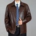 2016 nuevos hombres de marca de ropa de cuero chaqueta de cuero para hombre de alto grado de hombres de la chaqueta del resorte da vuelta abajo chaquetas de cuero